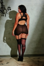 Plus-size Faux-Leather and Lace Garter Slip