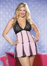Plus Size Flirty Lace and Mesh Babydoll Shirley