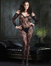 Plus Size Floral Lace Bodystocking Leg Avenue