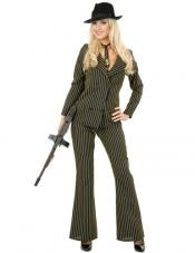 Plus Size Gangster Molly (Black/White) Costume