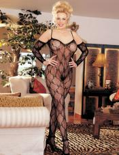 Plus Size Lace Crotchless Bodystocking Shirley