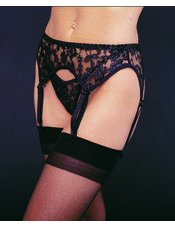 Plus Size Lace Garter Belt with Thong