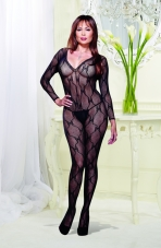 Plus Size Lace Long Sleeve Open Crotch Bodystocking Dreamgirl