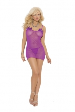 Plus Size Mesh Dress w/ Bow Applique & G String