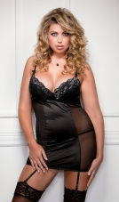 Plus Size Metallic Lace Chemise iCollection