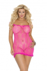Plus Size Neon Pink Lace Chemise Elegant Moments