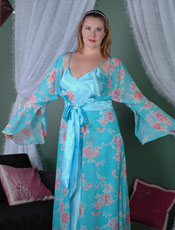 Plus Size Printed Chiffon Long Robe Vx Intimate Lingerie