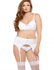 Plus Size Romantic Gartered Set Fantasy Lingerie