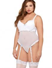 Plus Size Romantic Mesh Teddy Fantasy Lingerie