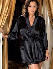 Plus Size Satin Lace Robe iCollection
