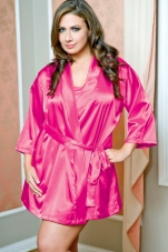 Plus Size Satin Short Robe iCollection