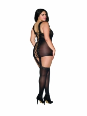 Plus Size Sheer and Lace Garter Dress Dreamgirl