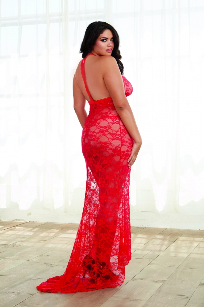 Plus size stretch lace bridal gown with back train for Stretch lace wedding dress