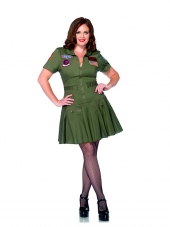Plus Size Top Gun Women's Flight Dress Leg Avenue