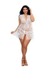 Plus Size White Eyelash Lace Tie-Front Babydoll Robe