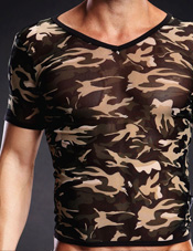 Pro-Mesh Camo V-Neck Tee Green Camo Electric Lingerie