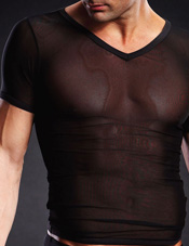 Pro-Mesh V-Neck Tee Black Electric Lingerie