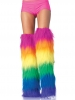 Rave Wear Furry Neon Rainbow Thigh Highs