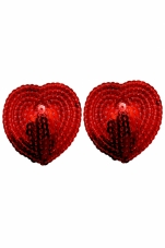 Red Heart Shaped Sequin Pasties