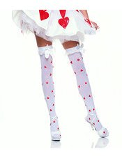 Red Heart Stockings with Lace Ruffle Satin Bow Leg Avenue