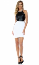 Refined Two Toned Matte Top Bodycon Dress Forplay
