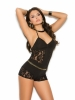 Romper with Halter Neck and Lace Inserts