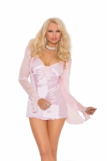 Satin Babydoll with Mesh Bow