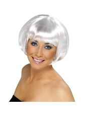 Short Bob White Wig Adult Smiffys