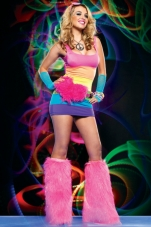 Spandex Rainbow Rave Mini Dress Leg Avenue