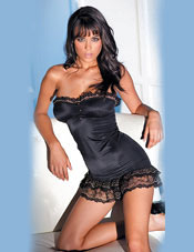 Strapless Stretch Club Dress w/ Lace Trim Fantasy Lingerie