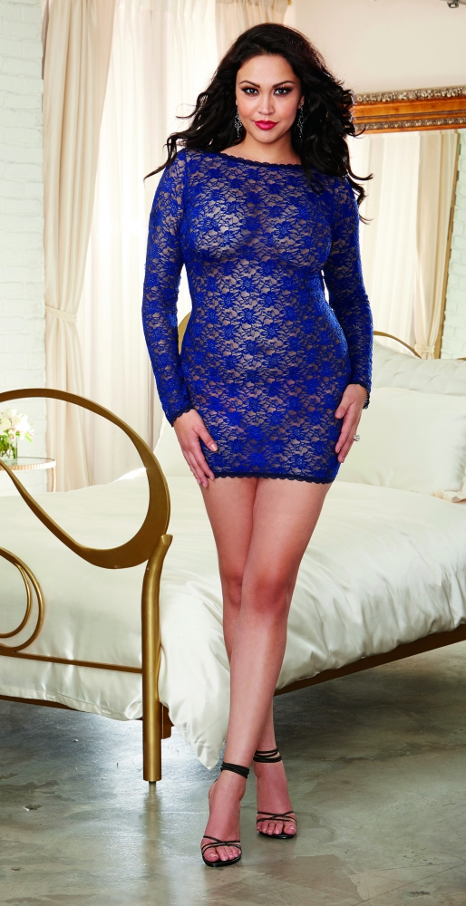 Stretch Lace Plus Size Long Sleeve Sexy Tunic Dreamgirl