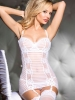 Striped Stretch Mesh Chemise With Garters
