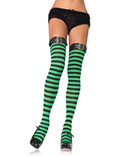 Striped Thigh Highs w/ belt Green/Black Leg Avenue