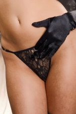 Thin Floral Lace Crotchless G-String Titlion