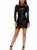 Thrill Long Sleeve Matte Finish Bodycon Dress