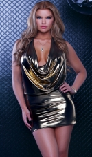 Tirreni Metallic Cowl Mini Dress Forplay