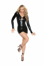 """Wet Look"" Long Sleeve Mini Dress Elegant Moments"