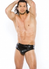 Wet Look Zipper Brief