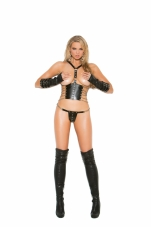 2 Piece Set Leather Cupless Top and Matching G-String