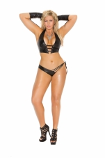 2 Piece Set Leather Halter Cami and Matching Side Tie Panty
