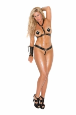2 Piece Set Adjustable Leather Harness and Matching G-String Elegant Moments